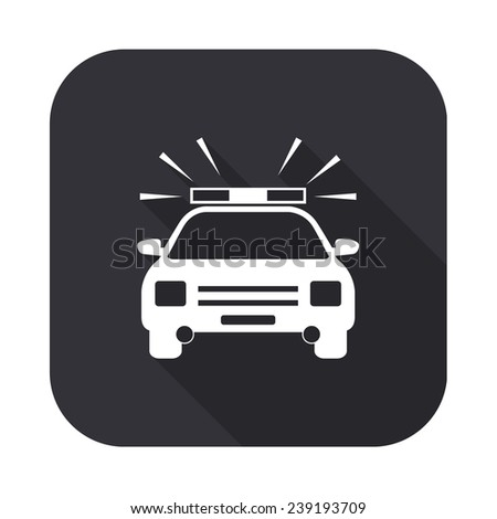 police car icon - vector illustration with long shadow isolated on gray - stock vector