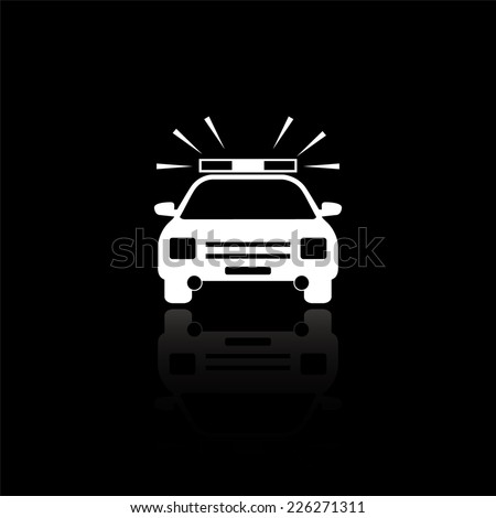 Police Car icon - vector illustration with reflection isolated on black - stock vector