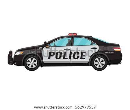 Police Car Side View Isolated On Stock Vector 562979557 Shutterstock