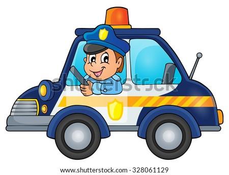 Police car theme image 1 - eps10 vector illustration. - stock vector