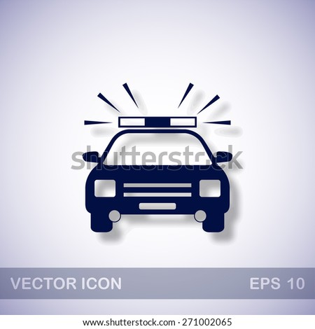 Police car vector icon - dark blue illustration with blue shadow - stock vector