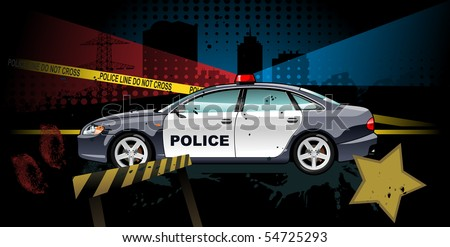 police car - vector illustration. Simple gradients only - no gradient mesh. - stock vector