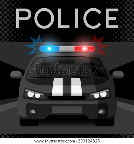 Police car with flash light. Vector illustration - stock vector