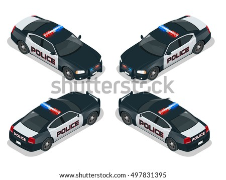 Isometric Police Car Cruiser Prowler Squad Stock Vector 394150141