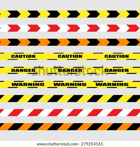 Police, caution, danger lines. Red black, red white, orange tapes, vector illustration on light grey background