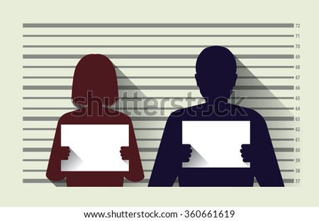 Police criminal record with man and woman , flat design - stock vector