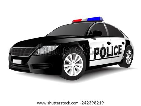 Police 3D car on White Vector - stock vector