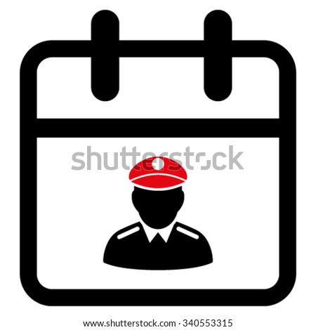 Police Date vector icon. Style is bicolor flat symbol, intensive red and black colors, rounded angles, white background. - stock vector