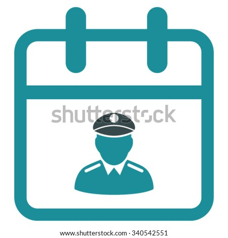 Police Date vector icon. Style is bicolor flat symbol, soft blue colors, rounded angles, white background. - stock vector