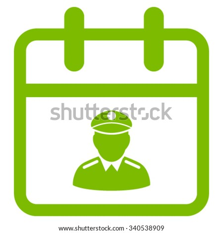 Police Date vector icon. Style is flat symbol, eco green color, rounded angles, white background. - stock vector