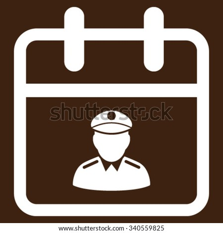 Police Date vector icon. Style is flat symbol, white color, rounded angles, brown background. - stock vector