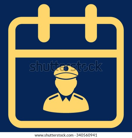 Police Date vector icon. Style is flat symbol, yellow color, rounded angles, blue background. - stock vector
