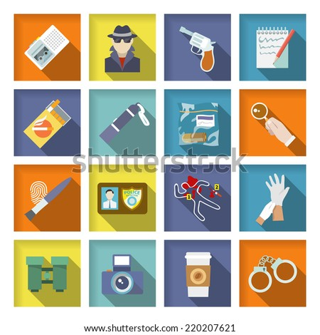 Police detective icons flat set with magnifier handcuffs coffee isolated vector illustration - stock vector