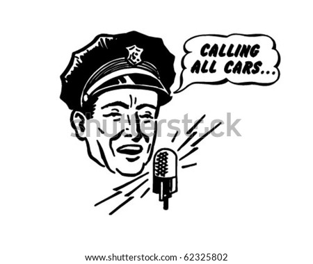Police Dispatcher - Retro Clipart Illustration - stock vector