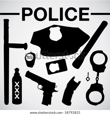 police equipment silhouettes