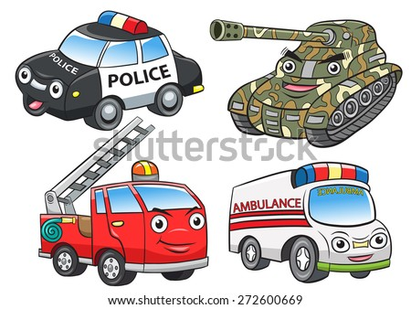 police fire ambulance tank cartoon.EPS10 File  simple Gradients, - stock vector