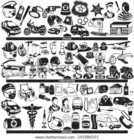 police firefighter and medical profession black icons - stock vector