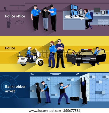 Police horizontal banners of policeman people in office and outdoor and at bank robber arrest flat shadow vector illustration  - stock vector
