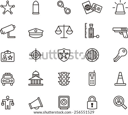 Police icon set - stock vector