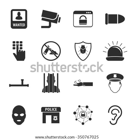 Police icons set.