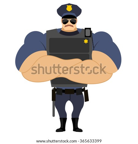 Police in flak vest. Powerful policeman in police uniform. Servant of law with mustache. Serious man with strong hand. Crossed hands on chest of athlete. Strongman in uniform. Police officer duty.  - stock vector