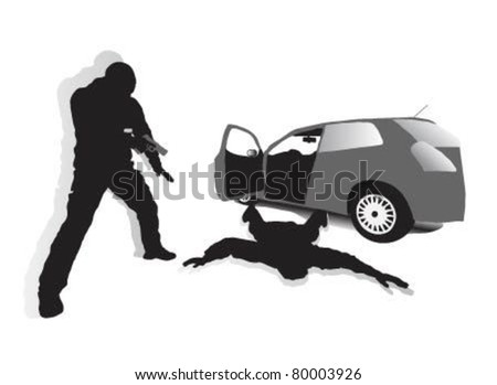 Police inspectors when criminals are out of the car and laid him on the ground. - stock vector