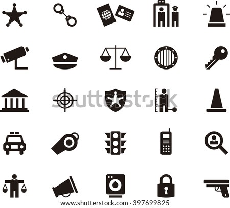 POLICE & LAW ENFORCEMENT flat glyph icons