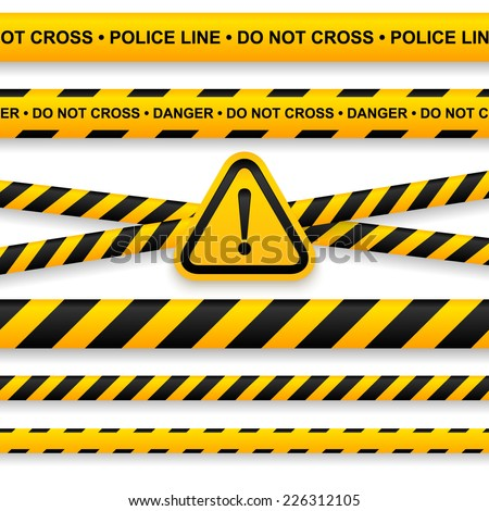 Police line, danger tapes and attention sign. Vector illustration. - stock vector