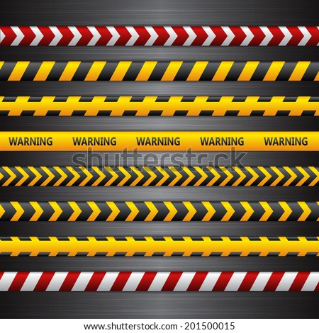 Police line, danger tapes on the dark metall background. Vector illustration. - stock vector