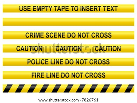 Police line tapes with a blank one to insert your own text - stock vector