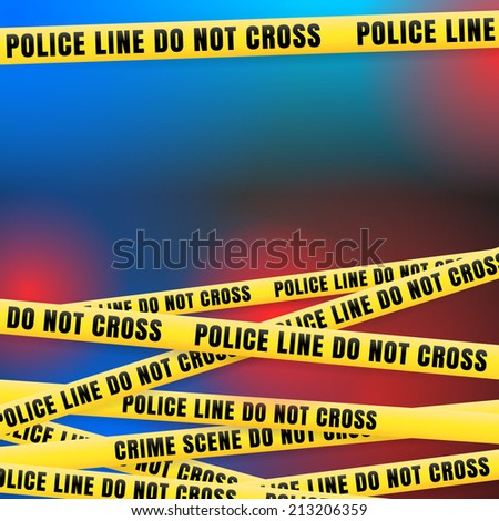 Police Line w Red Blue Lights - stock vector