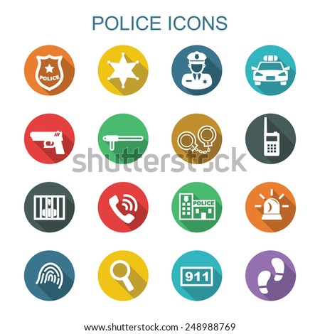 police long shadow icons, flat vector symbols