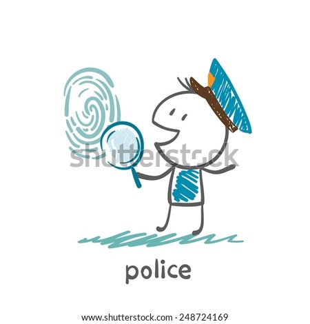 Police looking for fingerprint illustration of a magnifying glass - stock vector