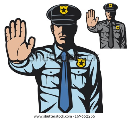 police man gesturing stop sign (stop sign by a police man, police officer is making stop sign with hand)  - stock vector