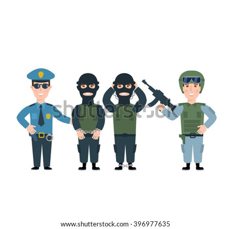 police man officer cop two gangsters terrorists soldier in uniform with weapon isolated on white background - stock vector