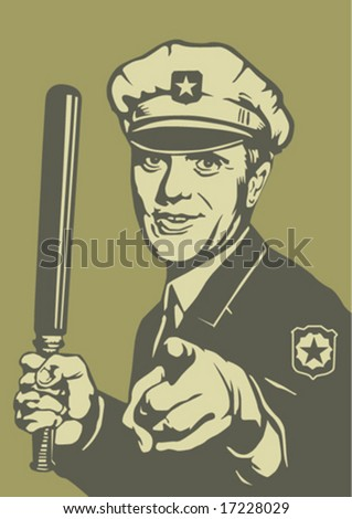 Police man, stylized retro picture