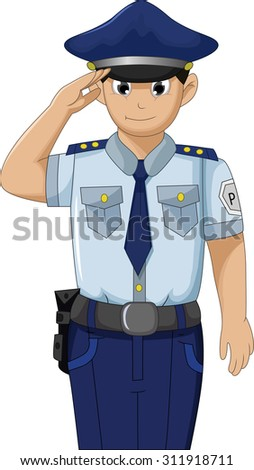 Police men in action respectable and saluting cartoon for your design - stock vector