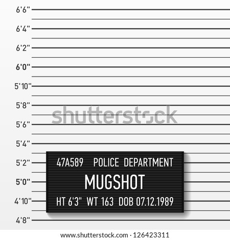 Police mugshot. Add a photo. Vector. - stock vector