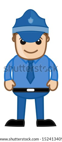 Police Officer - Cartoon Serviceman - stock vector