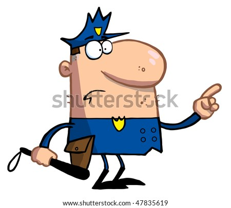 Police Officer Gestures With Finger - stock vector
