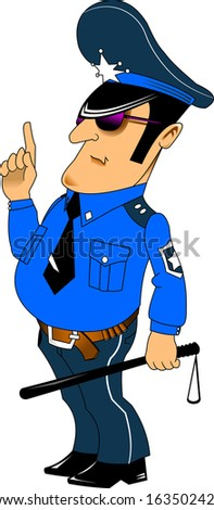 police officer in a blue uniform and a baton in his hand - stock vector