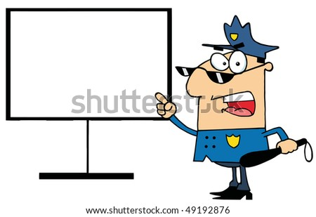 Police Officer Shouting And Pointing To A Blank Sign - stock vector