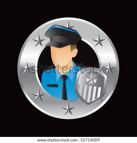 police officer silver star round frame - stock vector