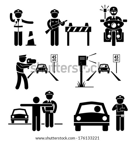 Police Officer Traffic on Duty Stick Figure Pictogram Icon - stock vector