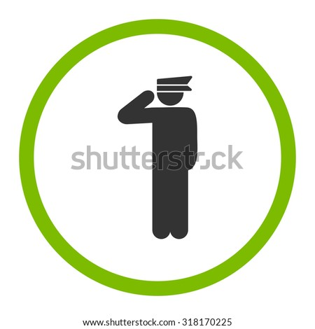 Police officer vector icon. This rounded flat symbol is drawn with eco green and gray colors on a white background.