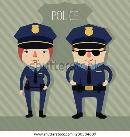police officers. policeman and police woman. companions. character design. vector illustration  - stock vector