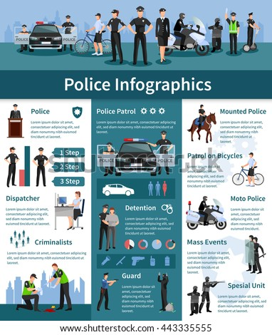 Police people flat info graphics layout with mounted police dispatcher detention criminalizes guards icons and information vector illustration - stock vector