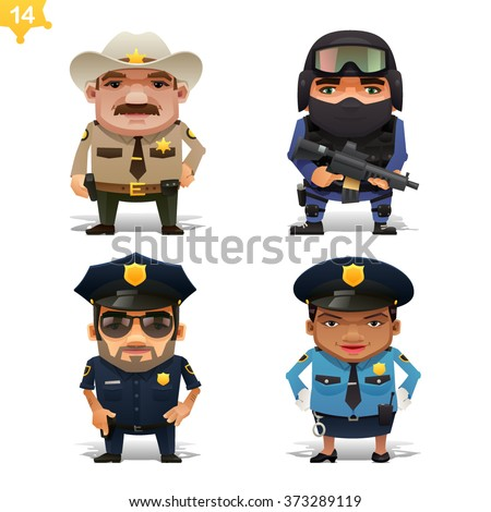Police professions set - stock vector