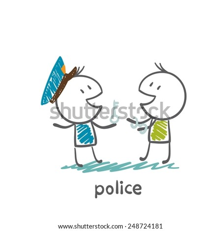 Police put on handcuffs thief illustration - stock vector