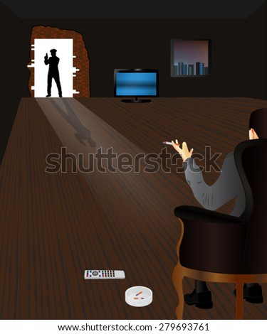 Police Raid. Criminal and Police officer. Vector illustration for your design. - stock vector